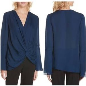 Cinq a Sept Blue Monica Side Knot Blouse Size L